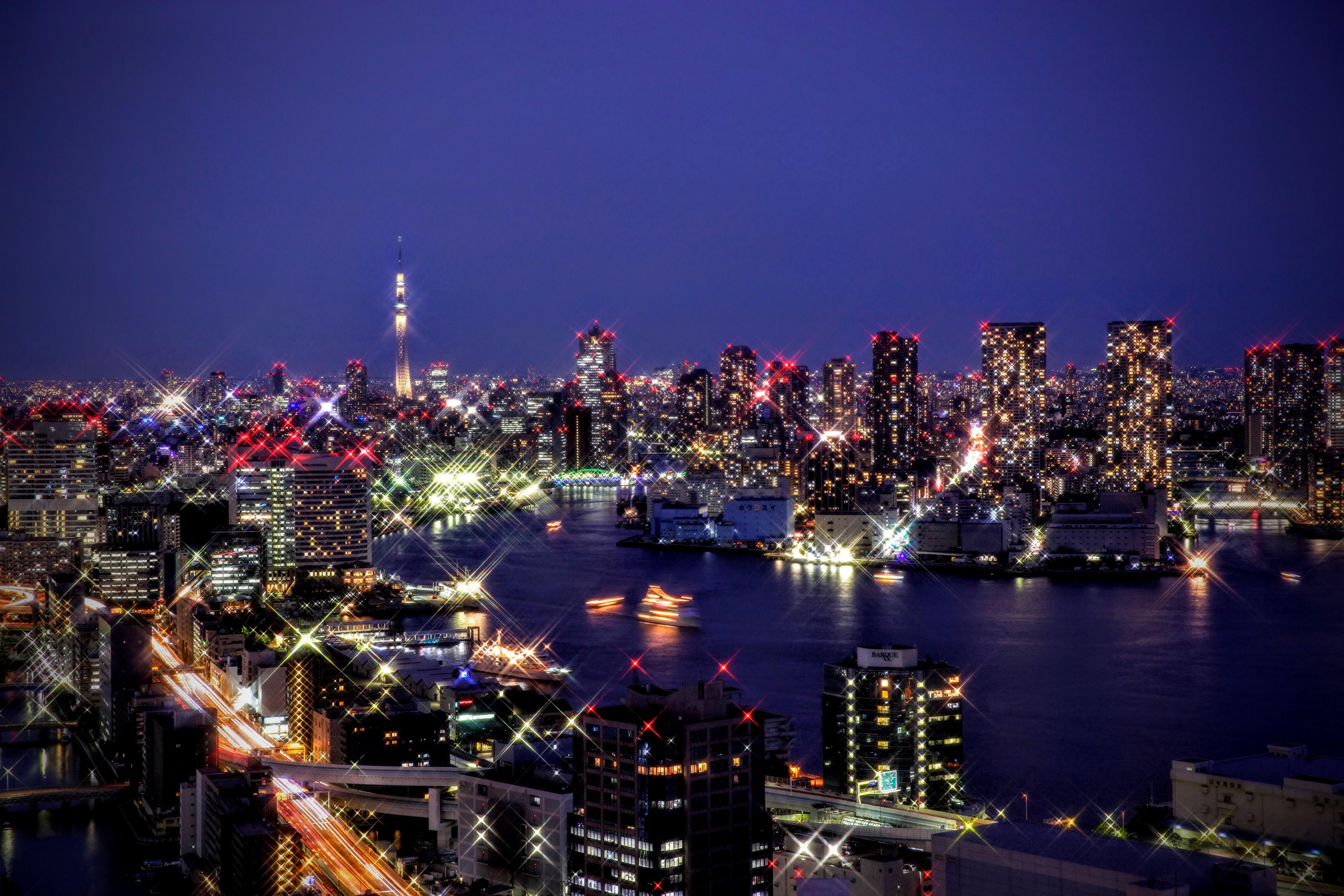 東京スカイツリー・レインボーブリッジの夜景をキラキラ系に撮影してみました