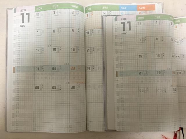 ジブン手帳スタンダードとジブン手帳miniの月間カレンダーページ