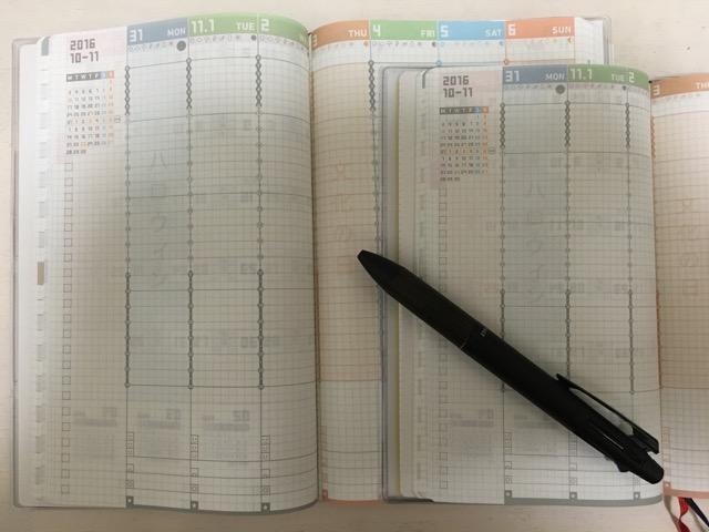 ジブン手帳スタンダードとジブン手帳miniの週間バーチカル