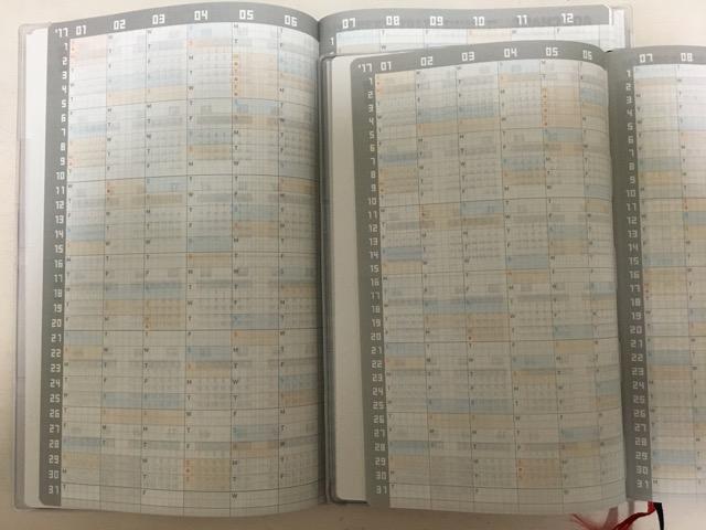 ジブン手帳とジブン手帳miniの年間スケジュール