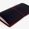 トラベラーズノートのカスタマイズ。黒赤のブライドルレザー風仕上げ。
