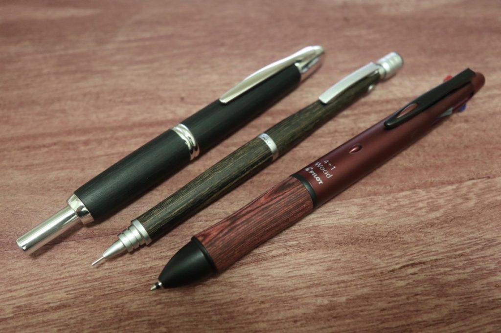 カバ材を使用した筆記具