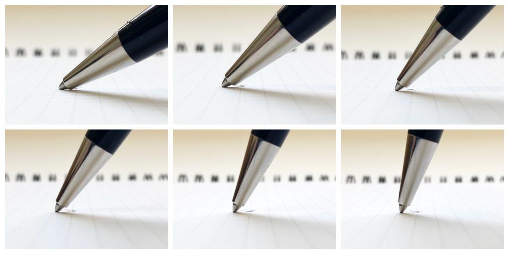 ボールペンの筆記角度